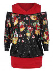 Plus Size Christmas Open Shoulder Snowman Print Hoodie -