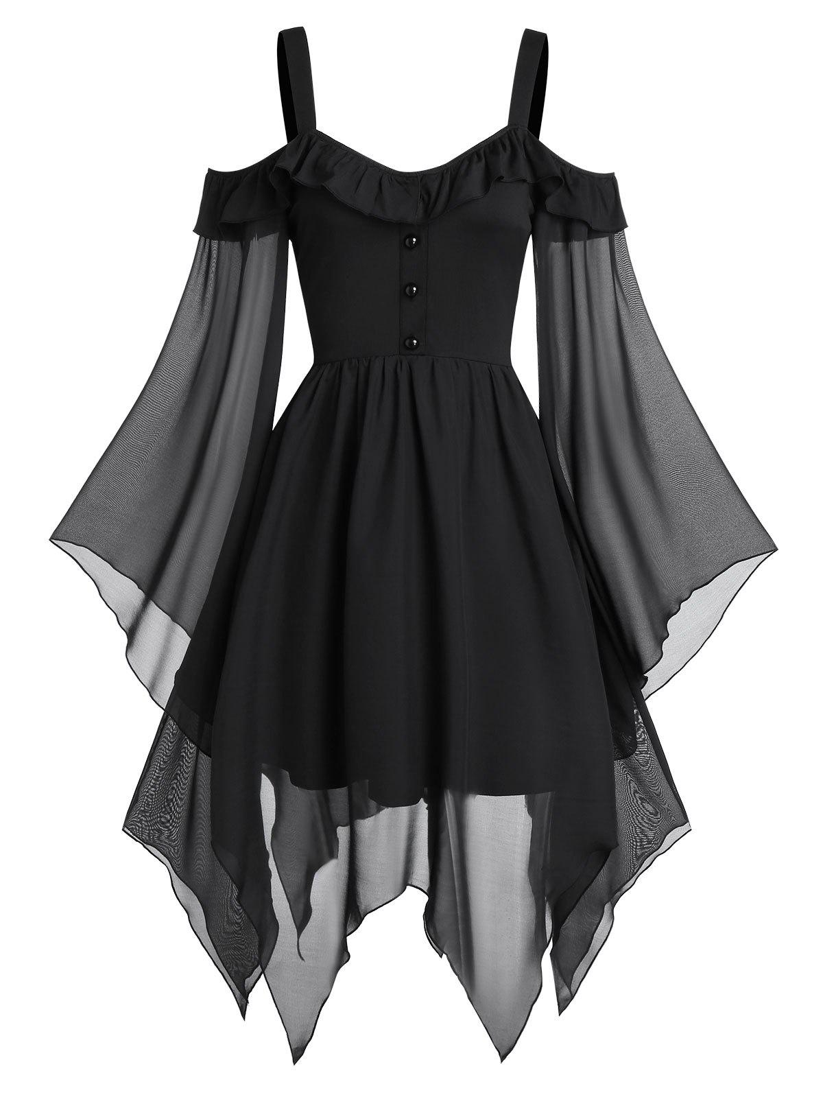 Buy Cold Shoulder Butterfly Sleeve Lace-up Handkerchief Gothic Chiffon Dress