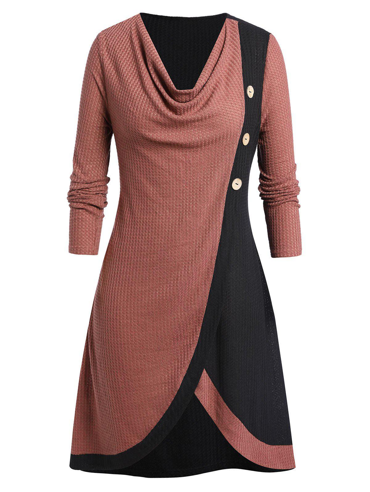 Store Plus Size Two Tone Cowl Neck Buttoned Knitted Long Sweater