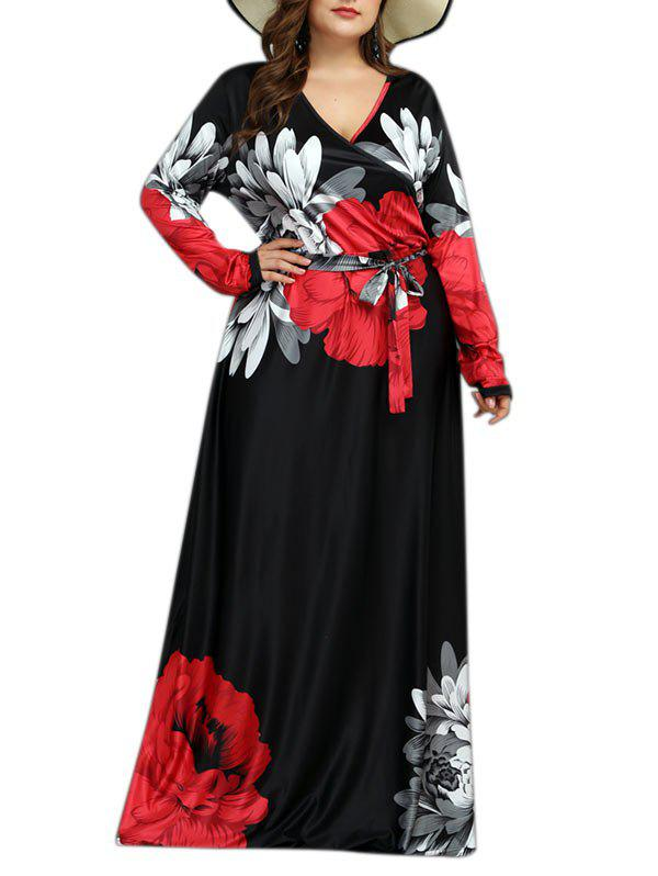 Discount Long Sleeve Belted Floral Surplice Plus Size Maxi Dress
