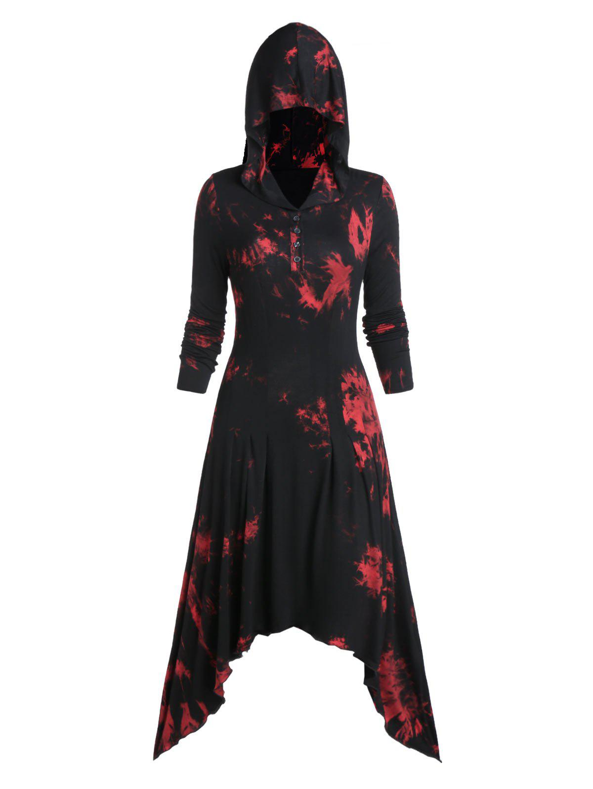 Affordable Tie Dye Print Quarter Button Hooded Asymmetric Gothic Maxi Dress
