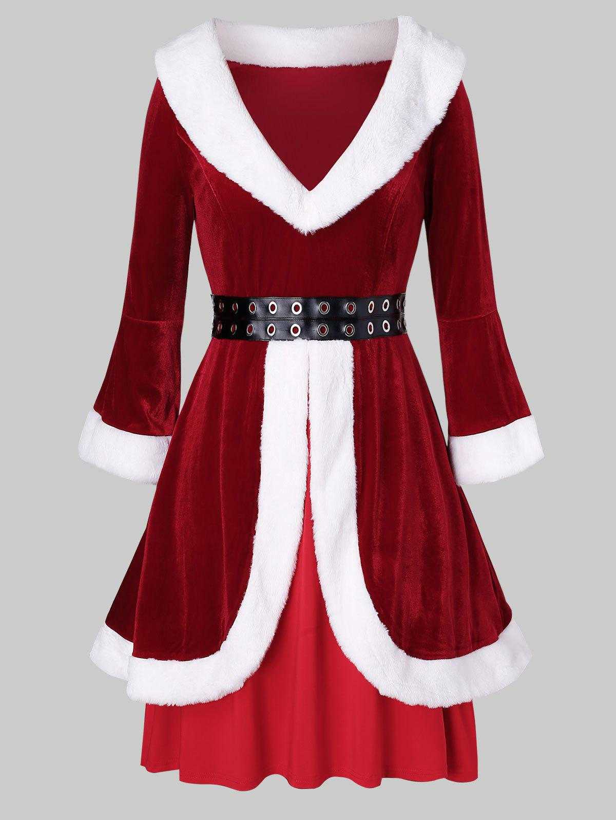 Best Plus Size Christmas Grommets Velvet Santa Claus Dress