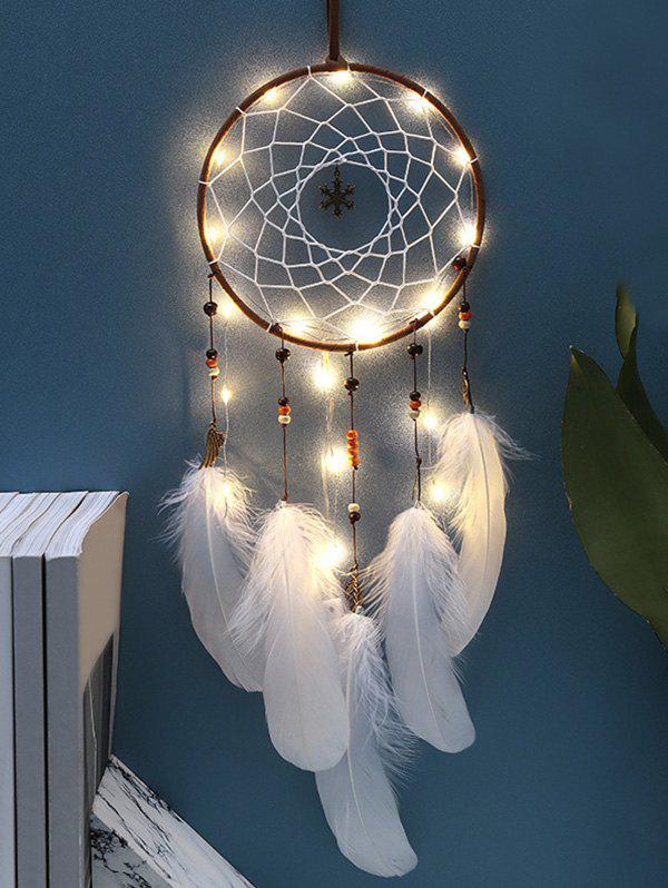 Discount Handmade LED Light Christmas Snowflake and Feather Dream Catcher