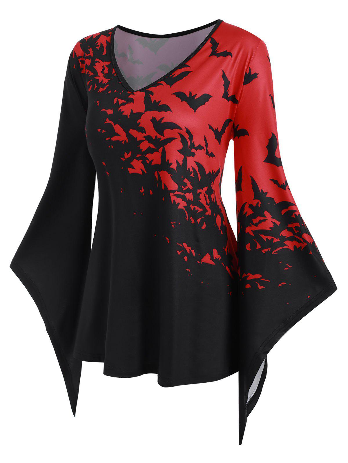 Best Asymmetrical Flare Sleeve Bat Print Halloween Plus Size Top