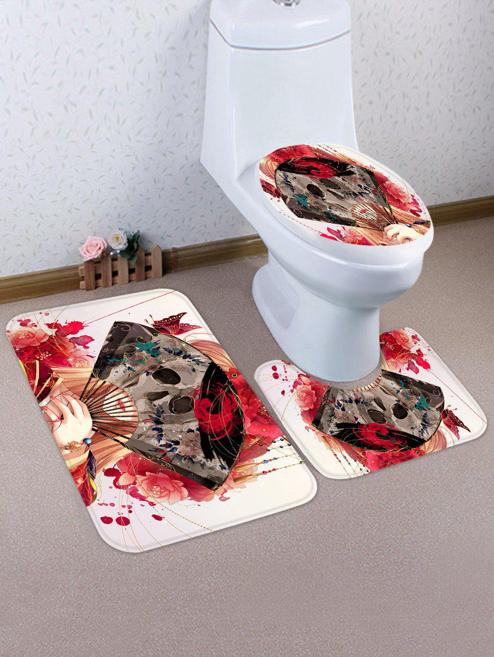 Set de tapis de toilette Halloween Fan Skull Pattern 3 Pcs Multi