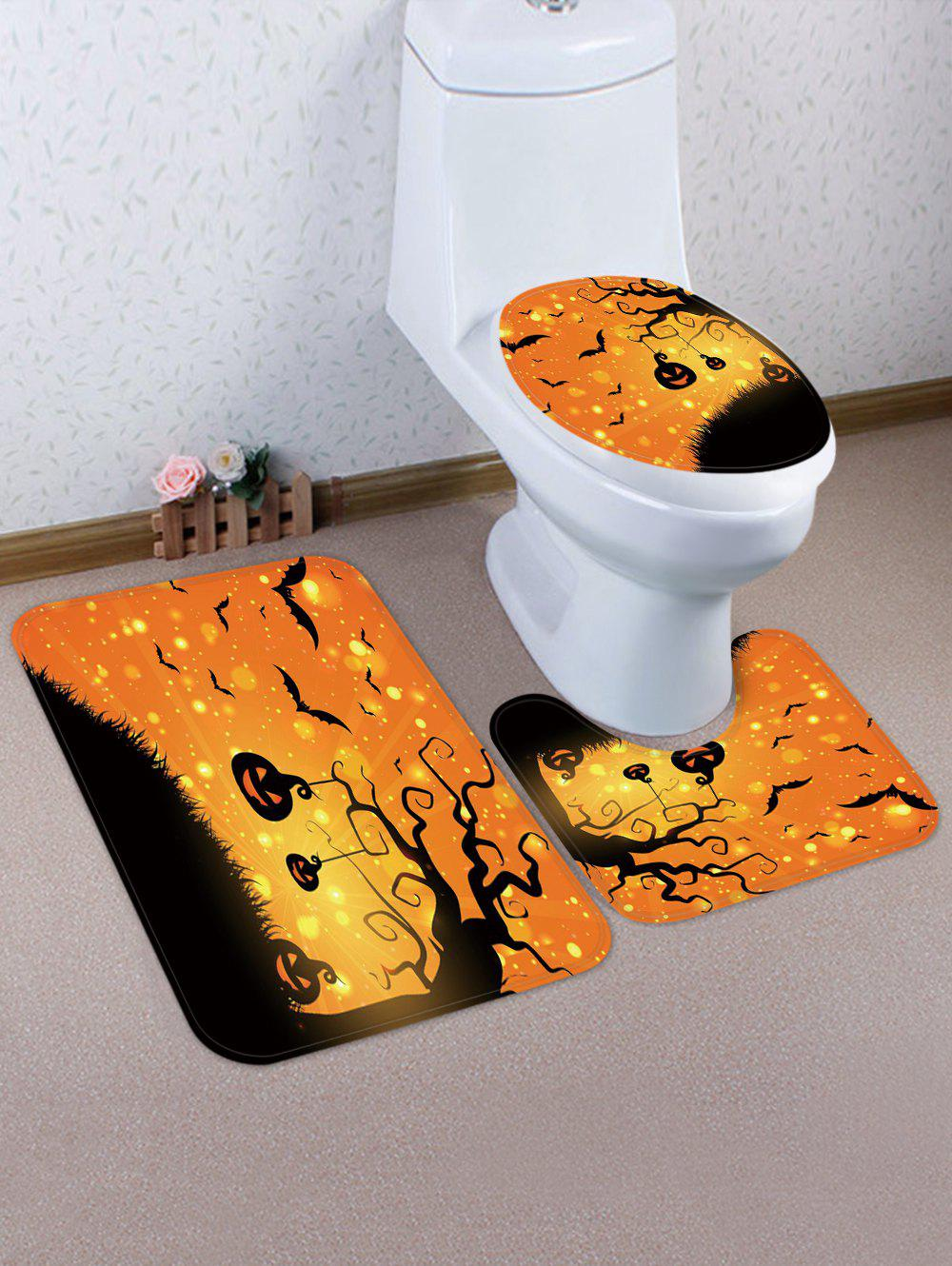 Online Halloween Bat Pumpkin 3 Pcs Bathroom Toilet Mat