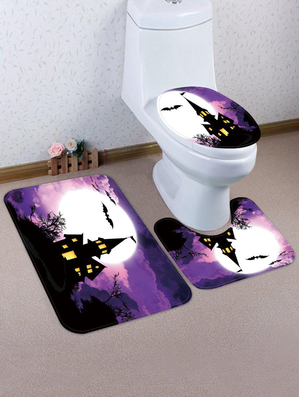 Latest Halloween Bat Castle Night 3 Pcs Bathroom Toilet Mat
