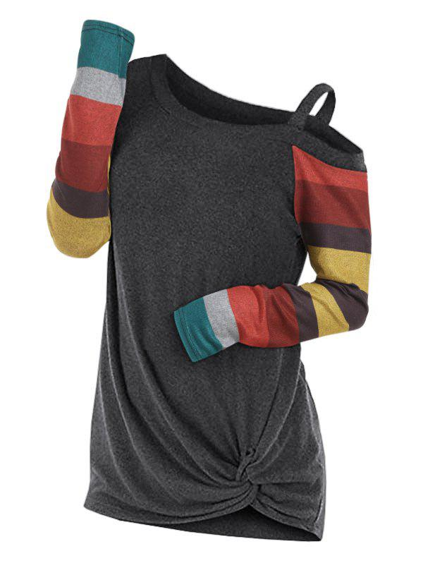 New Twisted Skew Neck Color Block Knitwear