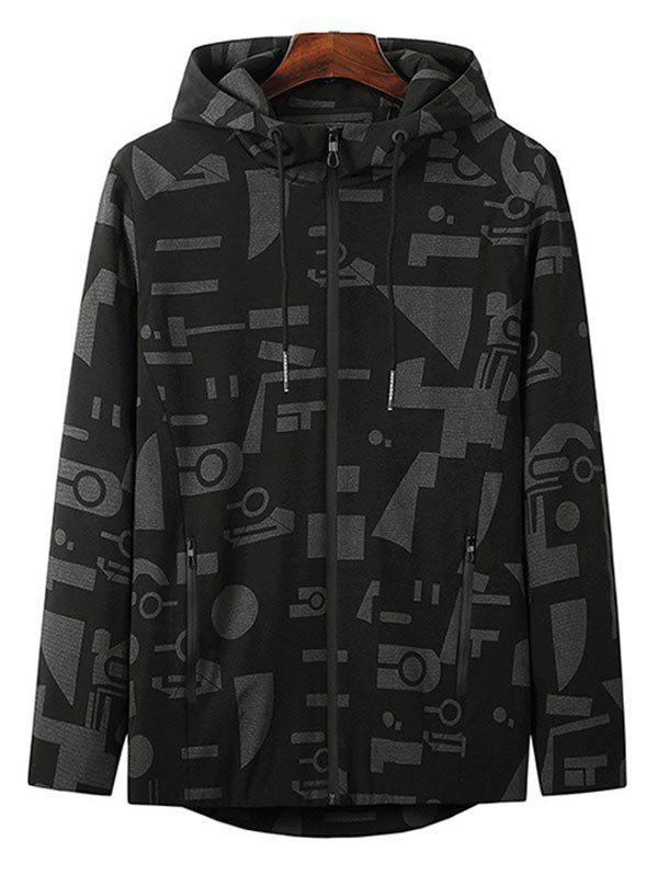 New Plus Size Hooded Letter and Geometric Print Zip Up Jacket