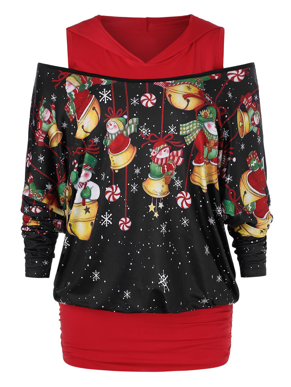 Affordable Plus Size Christmas Open Shoulder Snowman Print Hoodie
