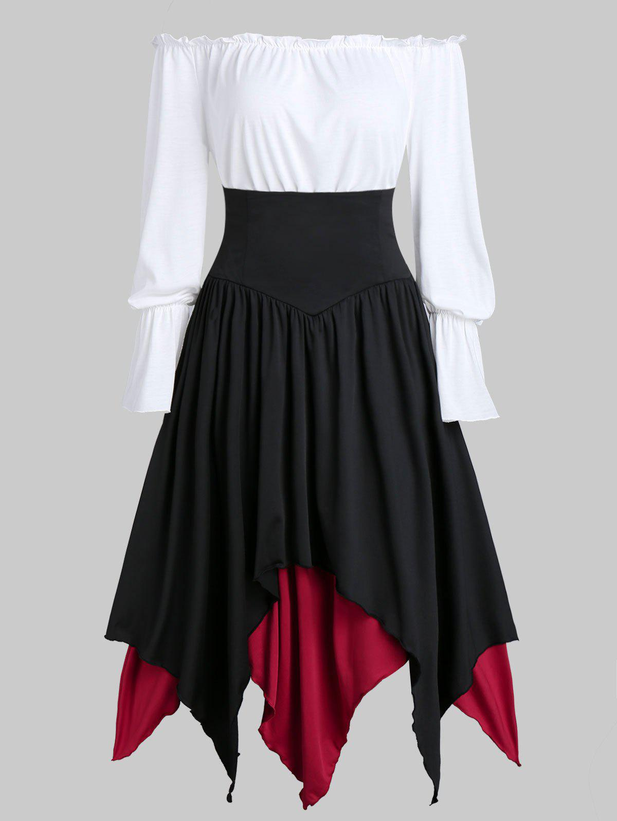 New Lace-up Contrast Layered Handkerchief Midi Skirt with Plain Bardot Top