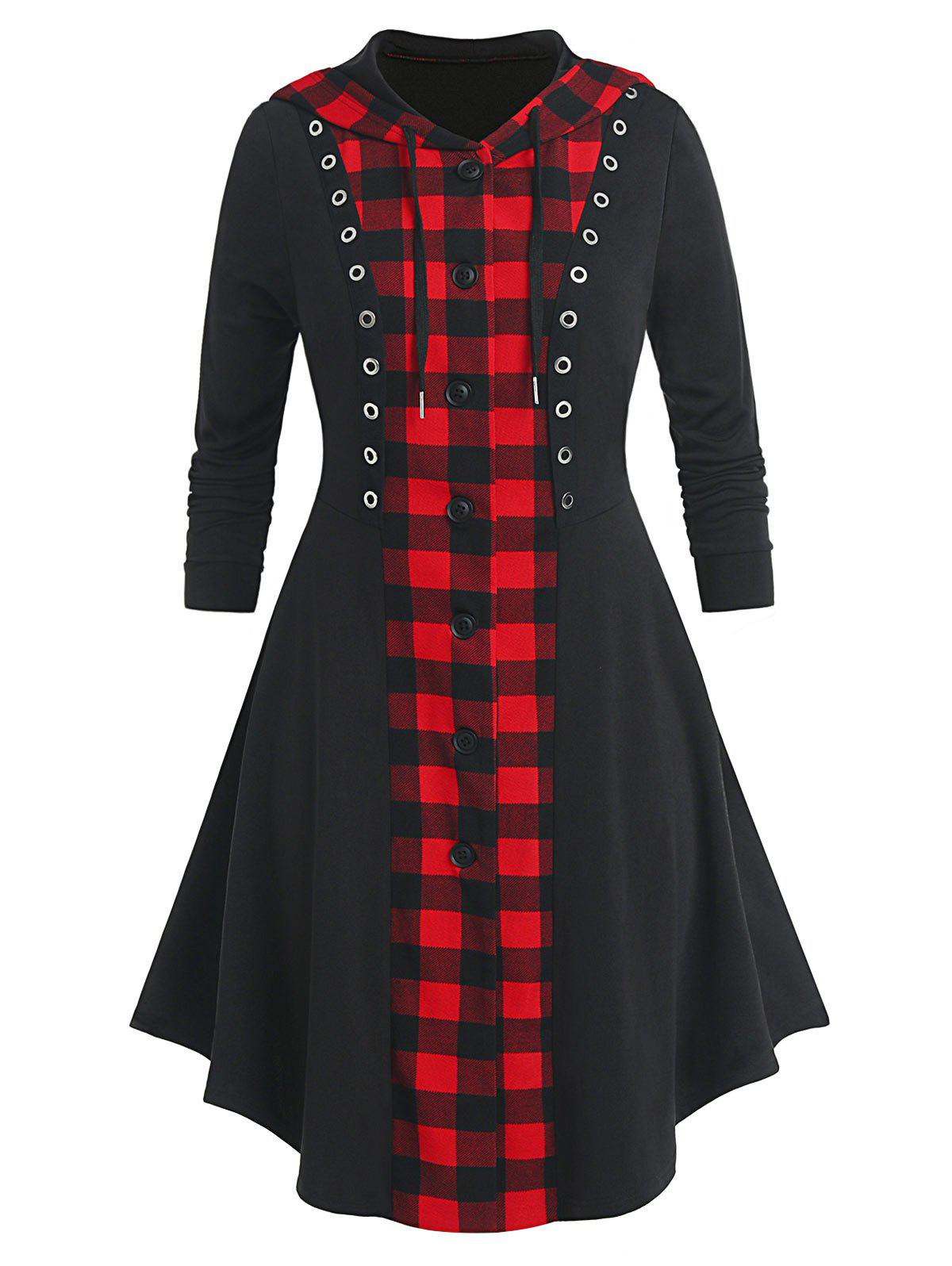 Fancy Plus Size Plaid Hooded Button Up Skirted Grommet Coat