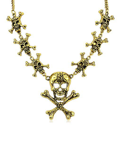 Shop Halloween Skull Hollow Out Statement Necklace