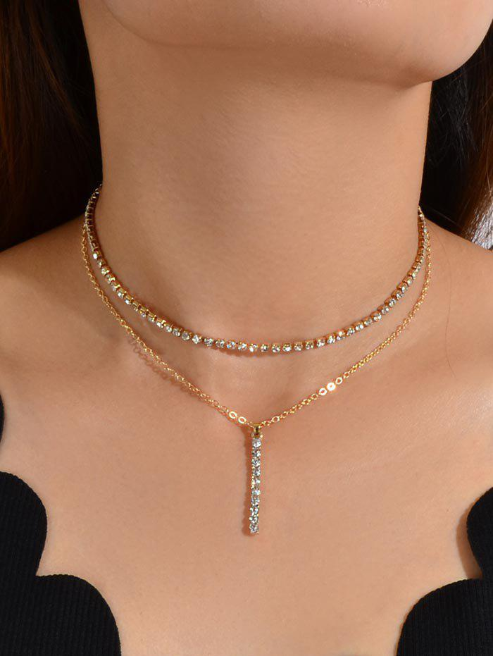 New Rhinestone Double Layered Bar Necklace
