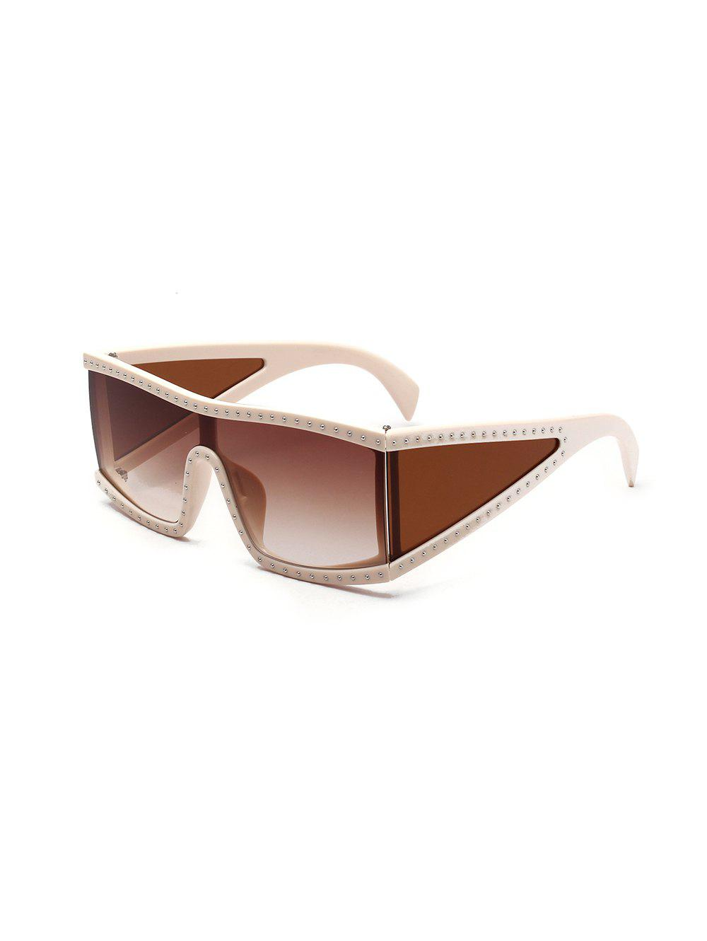 Shop Oversized Square One-piece Rivet Sunglasses