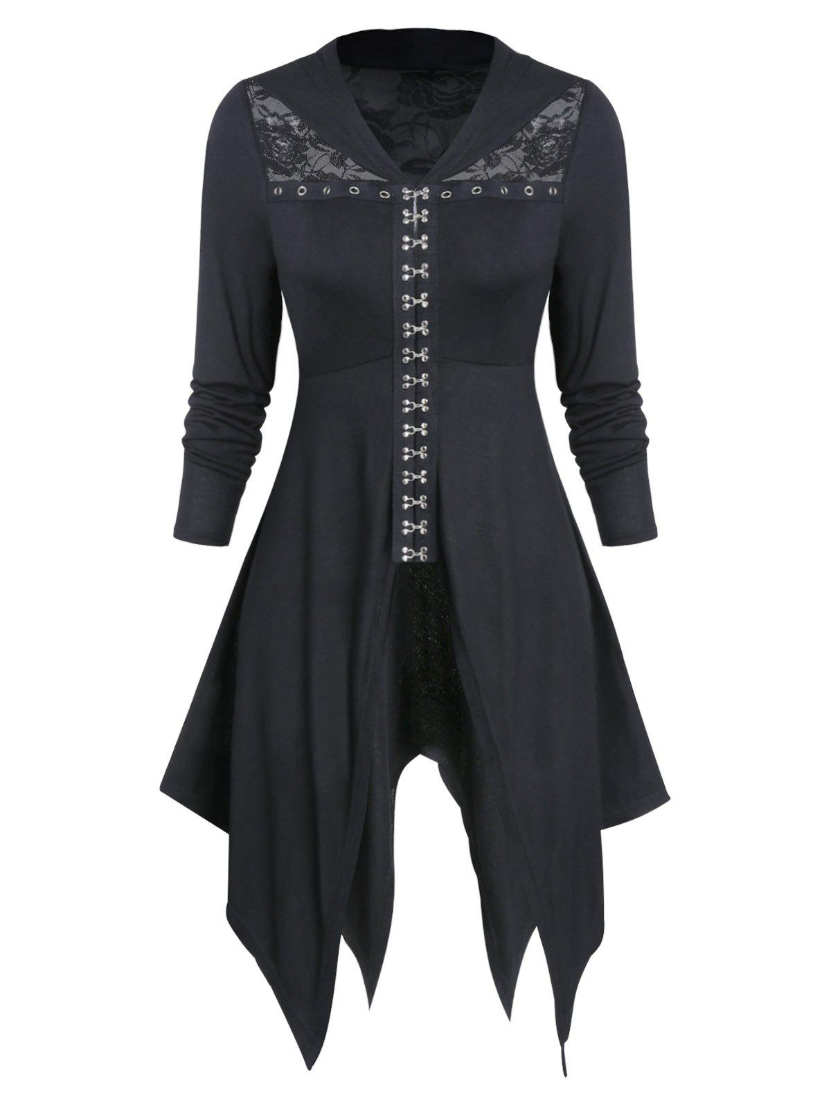 Chic Lace Insert Hook and Eye Gothic Hanky Hem Top