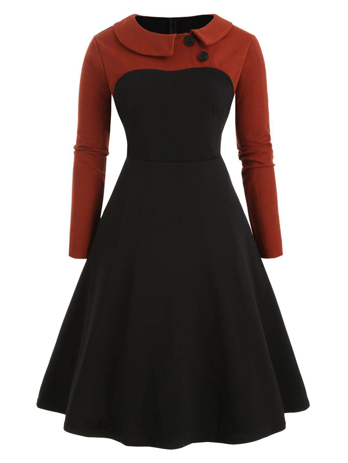 Plus Size Collared Long Sleeve Vintage Dress