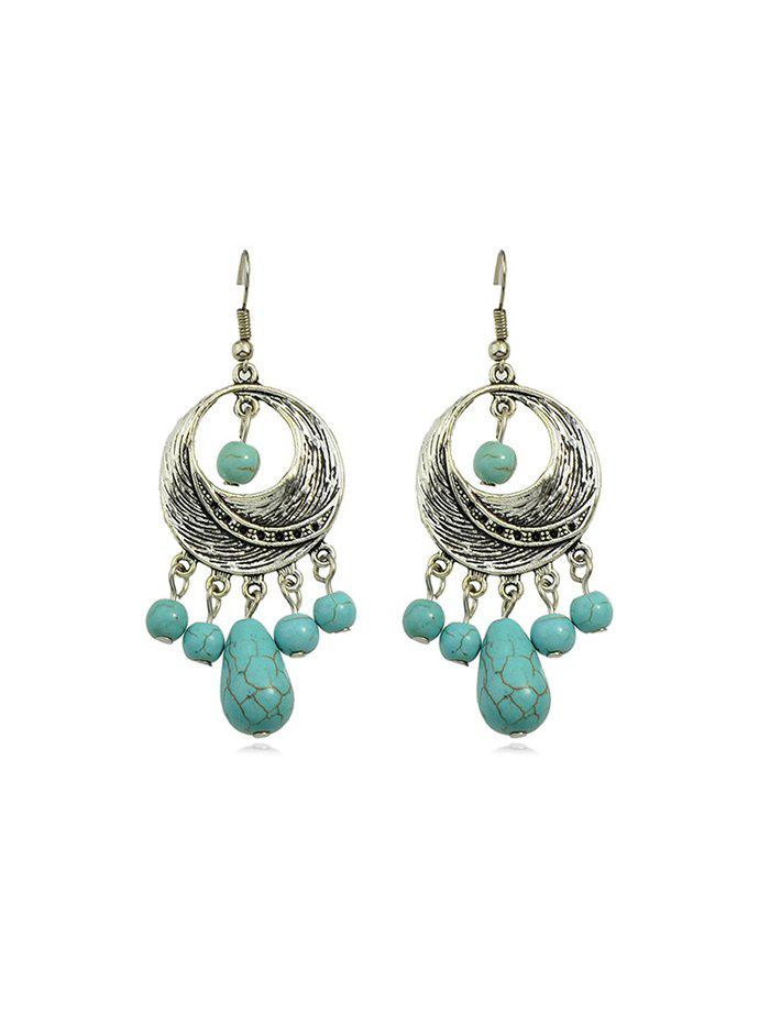 Trendy Faux Turquoise Round Earrings