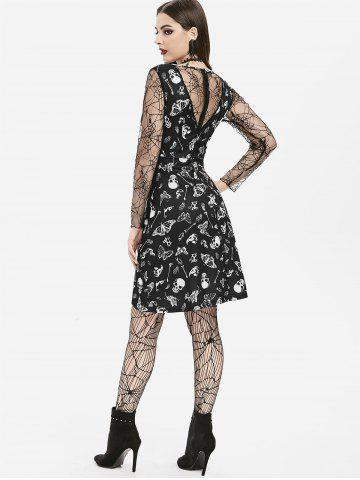 Cobweb Lace Skull Moth Mini Halloween Dress