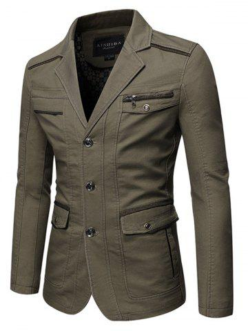 Lapel Collar Flap Pocket Solid Button Jacket