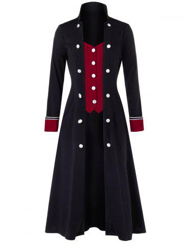 Plus Size Buttoned Two Tone Stand Up Collar Long Coat - MULTI - L