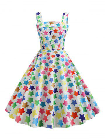 Mock Button Star Print Vintage Flare Dress