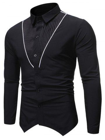 Pleated Contrast Trim Spliced Button Up Basic Shirt - BLACK - S