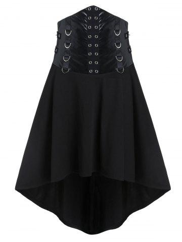 Gothic D Rings Grommets High Low Punk Skirt