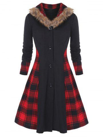 Plus Size Faux Fur Collar Buttons Plaid Spliced Skirted Coat
