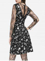 Cobweb Lace Skull Moth Mini Halloween Dress -