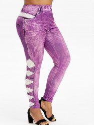 Pull On Printed High Waisted Plus Size Jeggings -