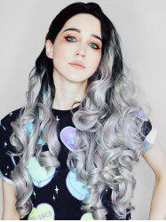 Center Part Halloween Ombre Curly Long Synthetic Wig -
