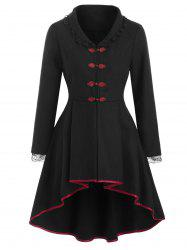 Laced Lace-up Frog Button Wool Blend High Low Coat -
