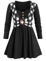 Plus Size Tunic Checked Panel Sweetheart Neck T Shirt -