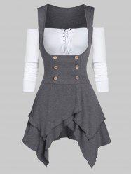 Off The Shoulder T Shirt with Marled Asymmetric Vest -