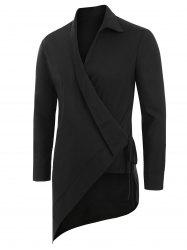 Solid Color Asymmetrical Long-sleeved Shirt -