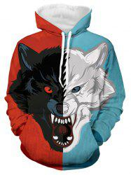 Color-blocking Dog Print Long-sleeved Hoodie -