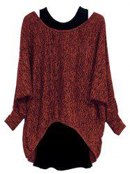 Plus Size Batwing Sleeve Marled High Low Tee And Tank Top Set -