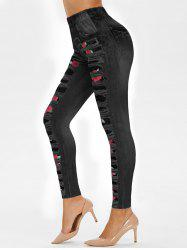 High Rise 3D Floral Ripped Jean Print Jeggings -