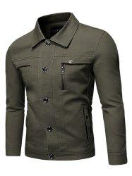 Solid Faux Chest Pocket Turn Down Collar Button Jacket -