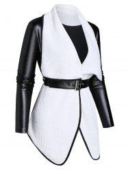 Long Sleeve Lapel Two Tone Jacket with Belt -