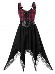 Plus Size Asymmetrical Plaid Lace Up Handkerchief Lace Panel Dress -
