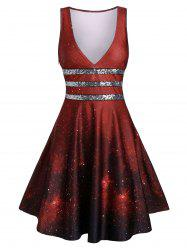 Galaxy Print Sequined Plunge Dress -