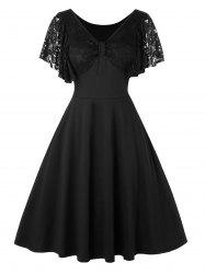 Plus Size Lace Insert High Waist Fit And Flare Vintage Dress -
