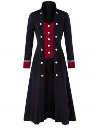 Plus Size Buttoned Two Tone Stand Up Collar Long Coat -