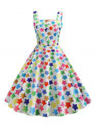 Mock Button Star Print Vintage Flare Dress -