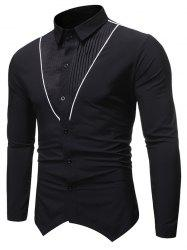 Pleated Contrast Trim Spliced Button Up Basic Shirt -