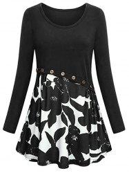 Plus Size Floral Mock Button Tunic Dress -