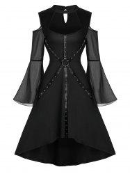 Halloween Bell Sleeve Cut Out Harness Grommet Gothic Dress -