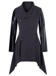 Plus Size PU Leather Panel Asymmetrical Zipper Knit Coat -